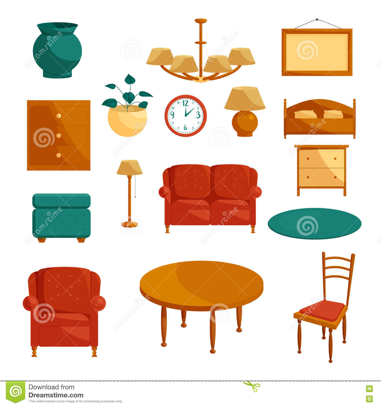 Cartoon Kitchen Furniture: Furniture Icons Set, Cartoon Style Stock Vector