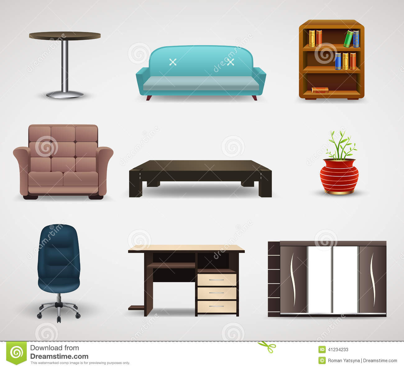 Interior Design Basics Furniture ~ Furniture icons set of interior elements stock vector