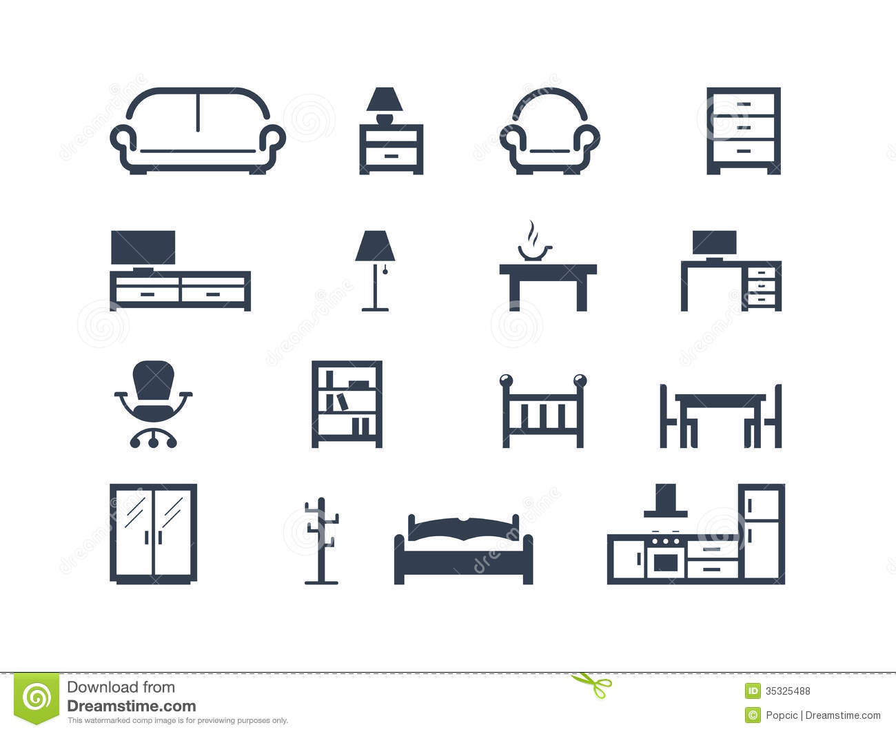 Interior Design Icons Free Download Vector Illustration Of Single