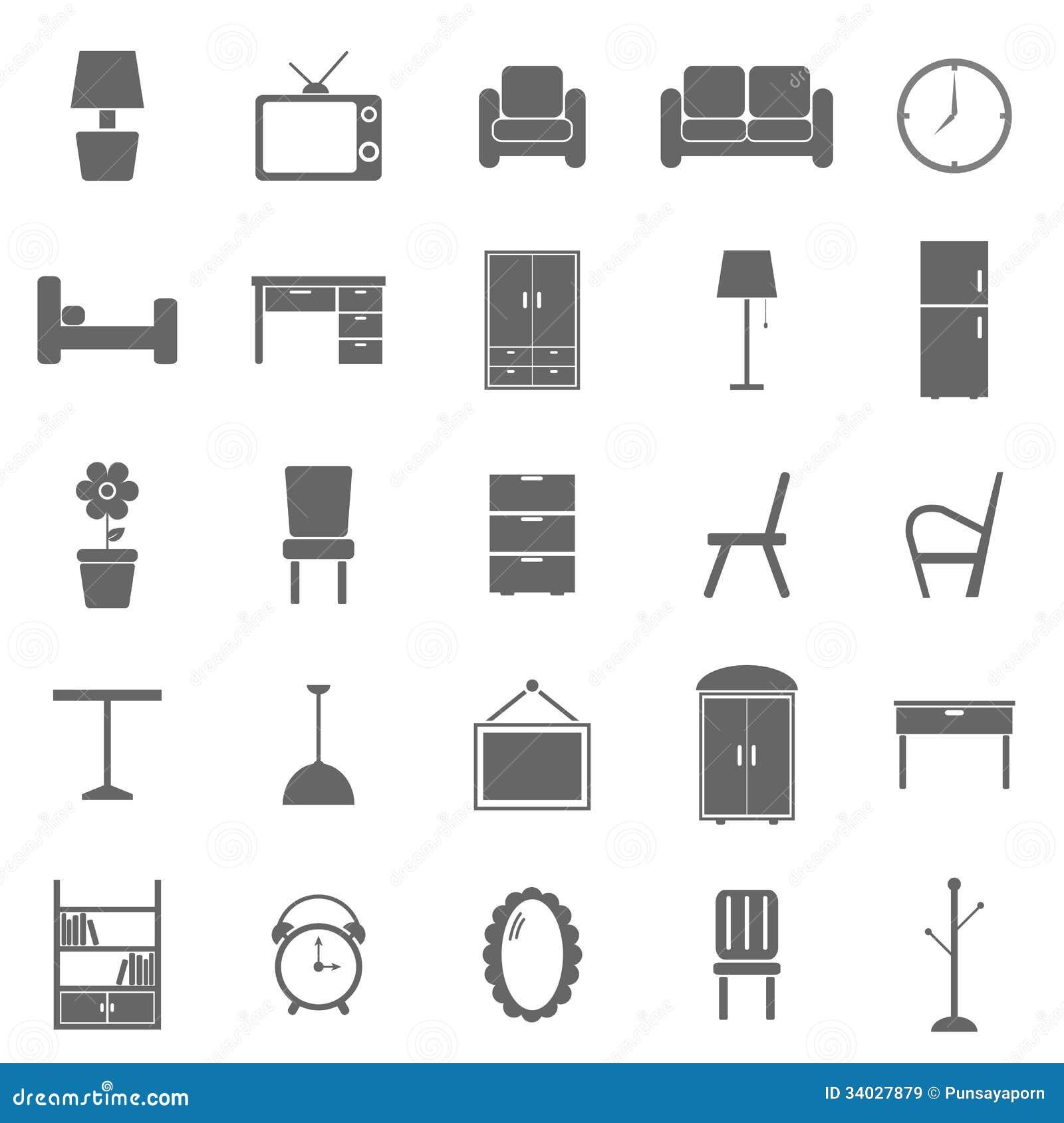 Furniture Icons On White Background Royalty Free Stock Images Image 34027879