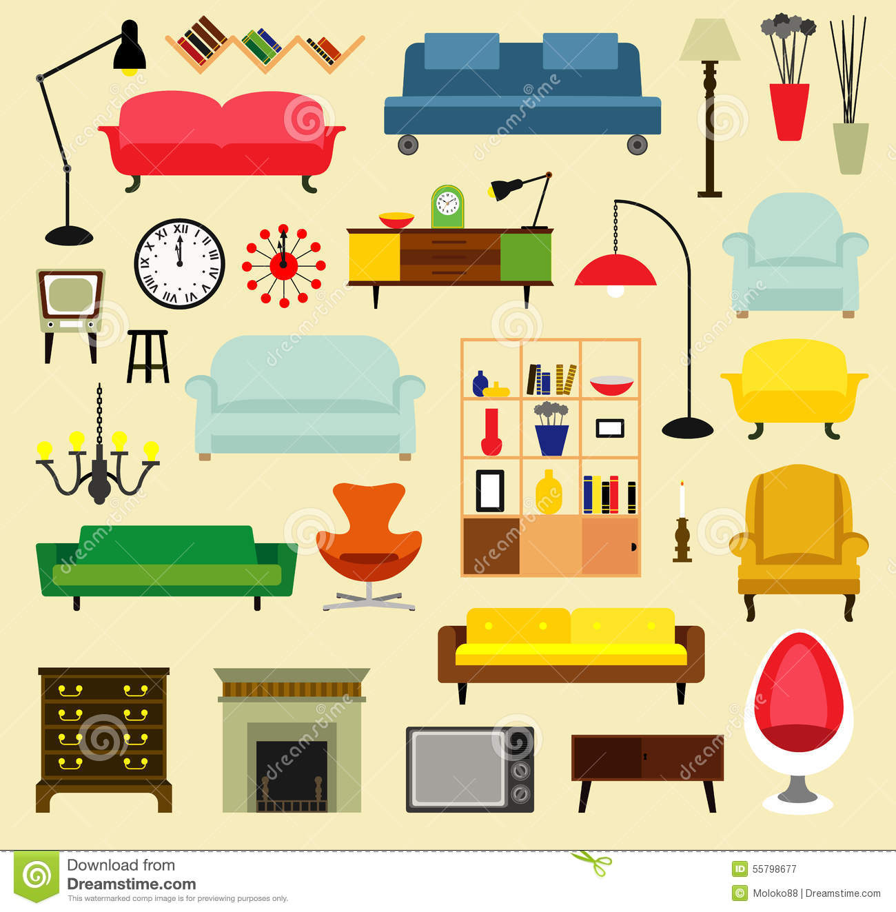 Cartoon furniture for living rooms . Flat style vector illustration.