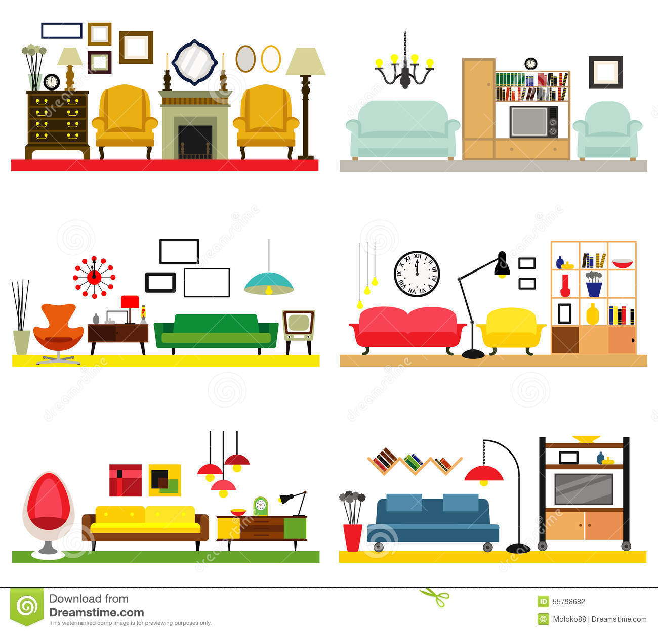 Cartoon Kitchen Furniture: Furniture Ideas For Living Room Stock Vector