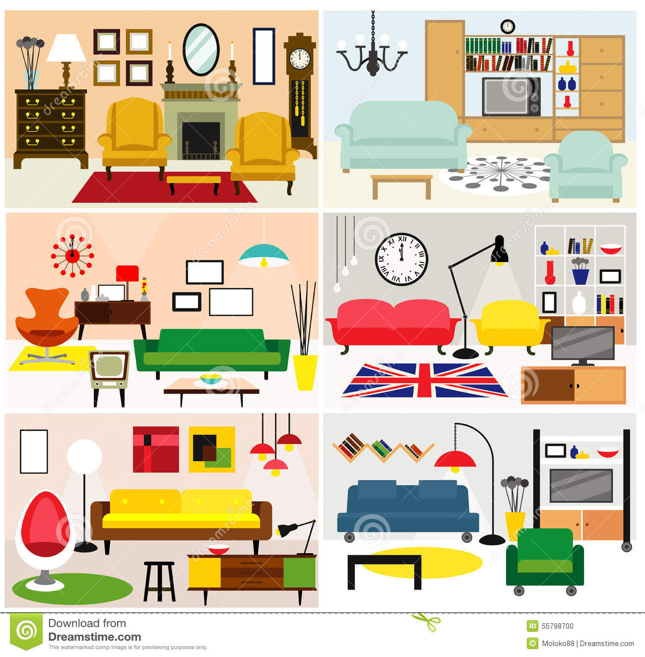 Furniture Ideas Living Room Cartoon Rooms Flat Style Vector