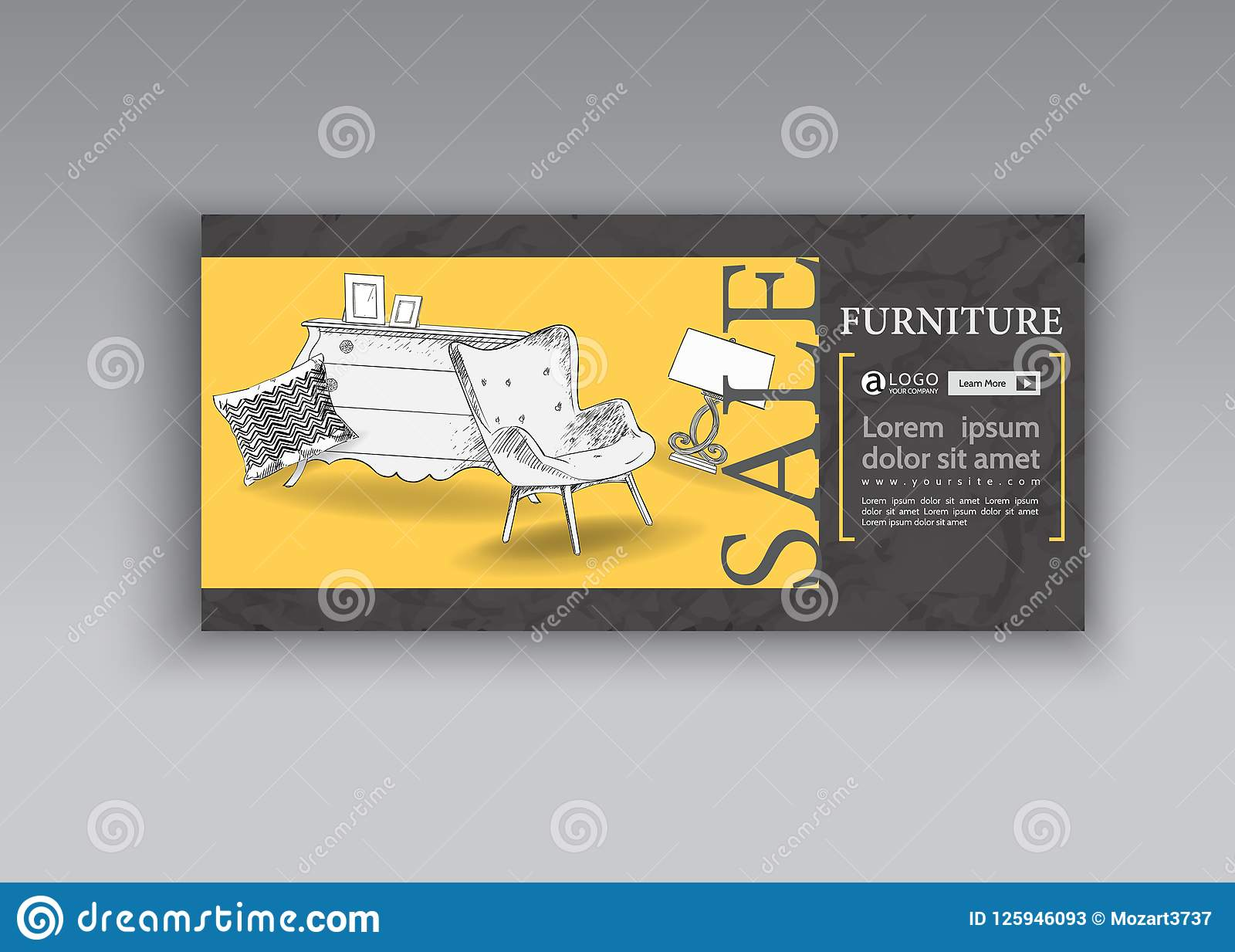 furniture sale ads. Download Banner Of Hand Drawn Furniture Store, Apartment, Promotion, Sale,  Ads Stock Furniture Sale Ads