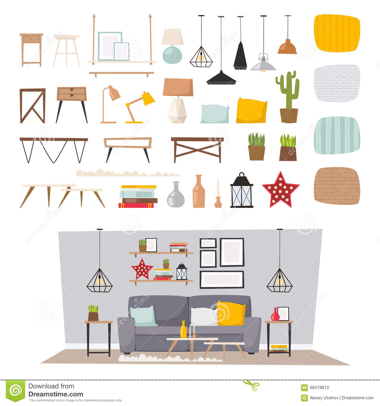 Contemporary home interior design and vase decor royalty for Room design vector