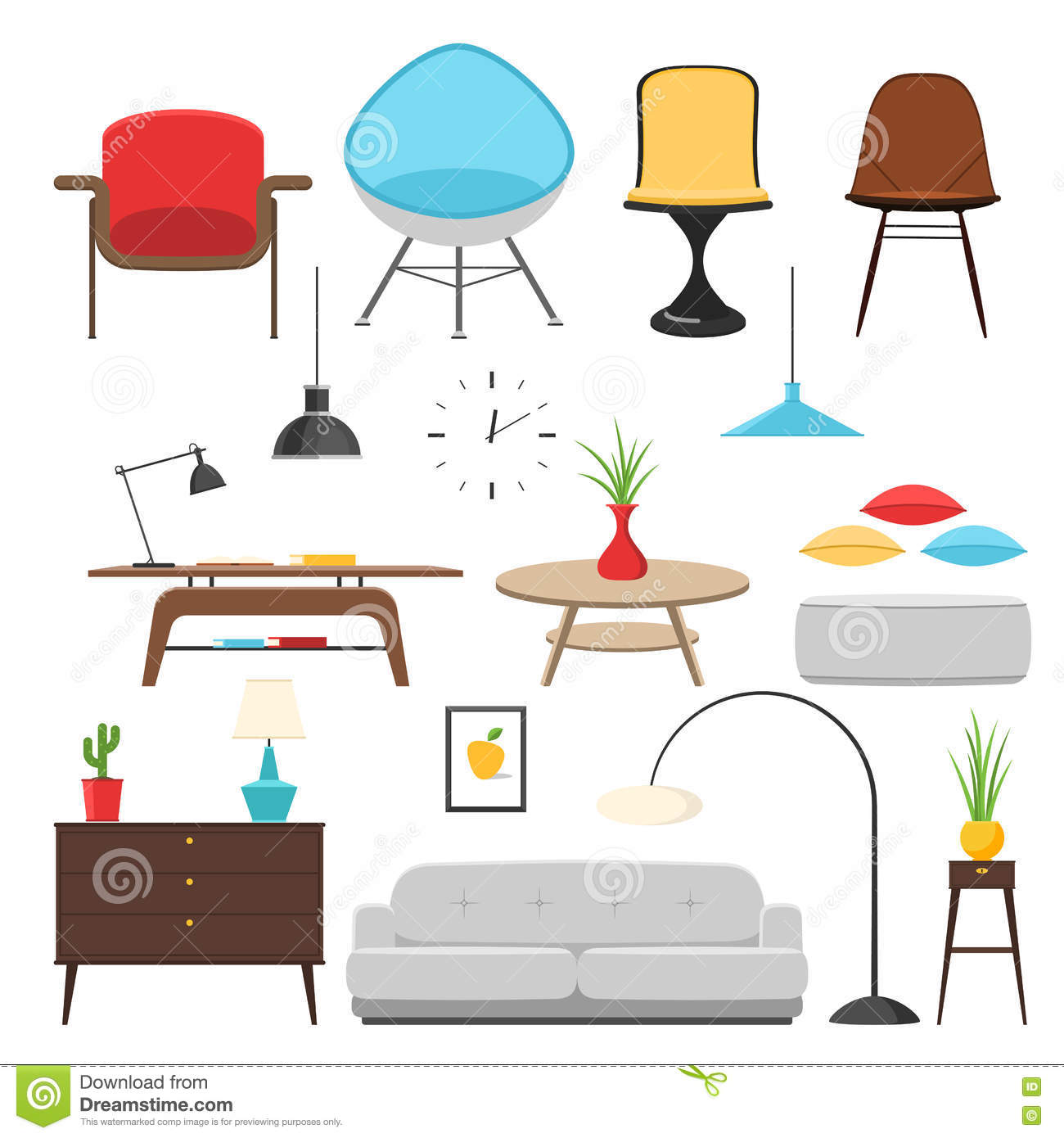 Furniture interior icon set stock vector illustration of couch interior 72390216 Home decoration vector free