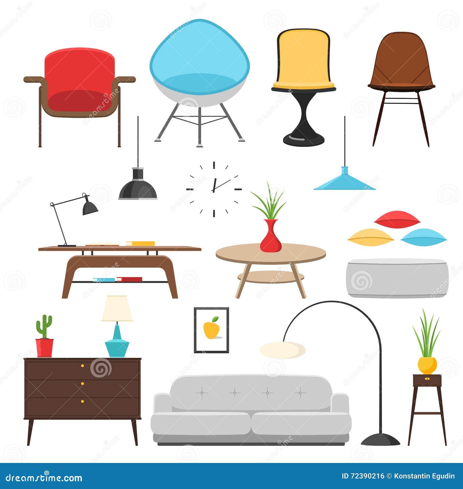 Furniture Interior Icon Set Stock Vector Illustration Of Couch Interior 72390216