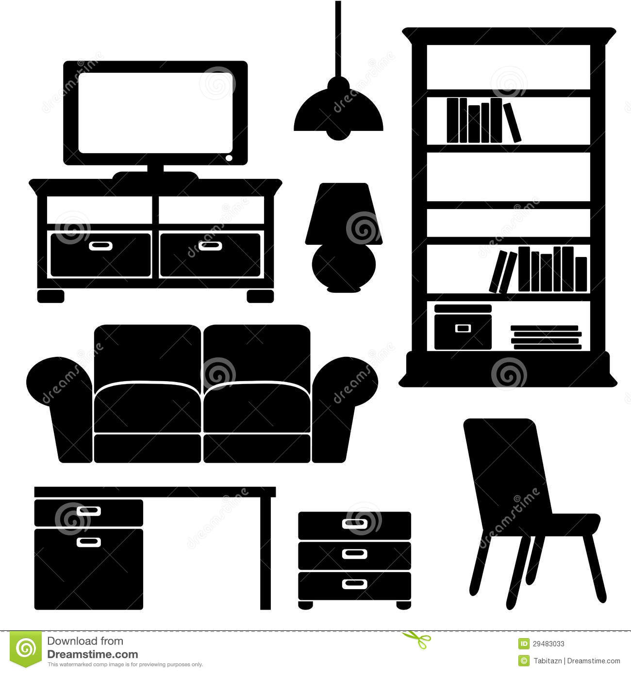 Furniture interior icons stock vector. Illustration of ...