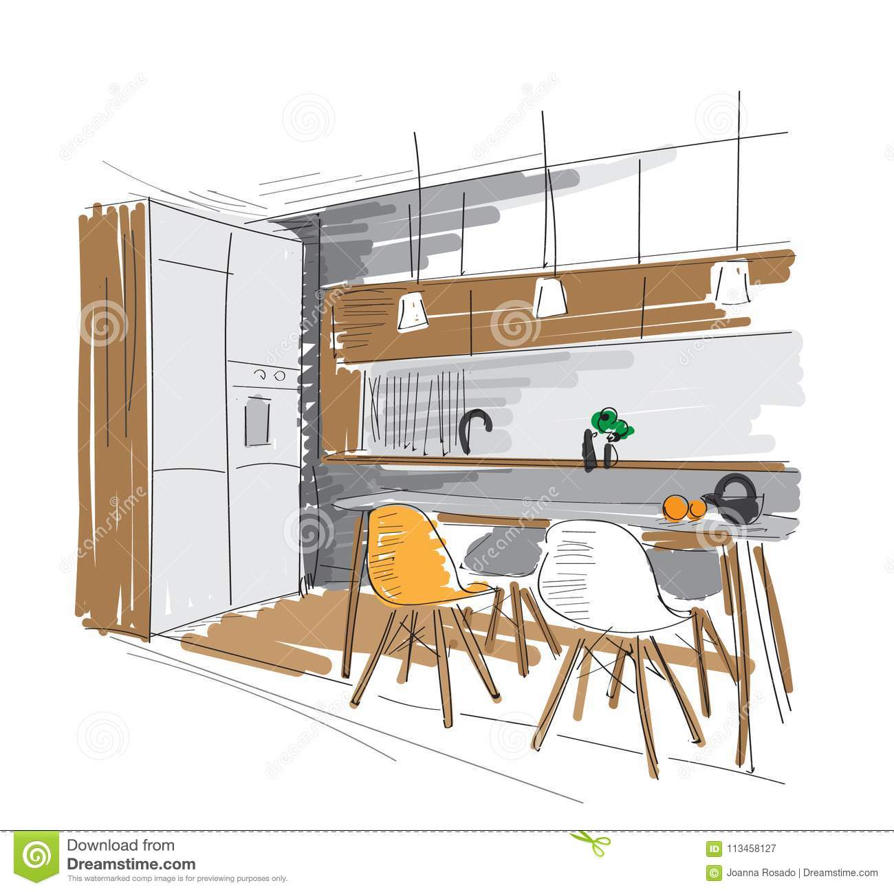 Vector Interior Design Hand Drawn Illustration Kitchen Dining Room