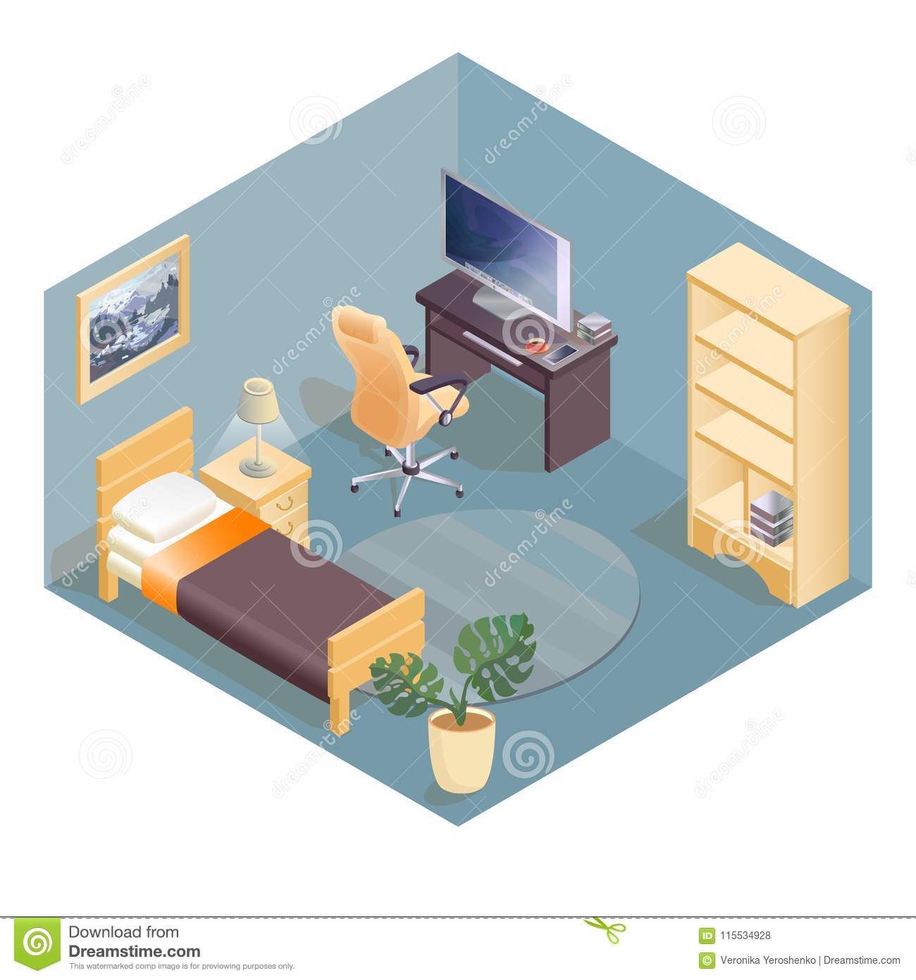 Vector Isometric Rooms Icon Stock Vector: Furniture Isometric Icons. Cozy Room With Workspace. Stock