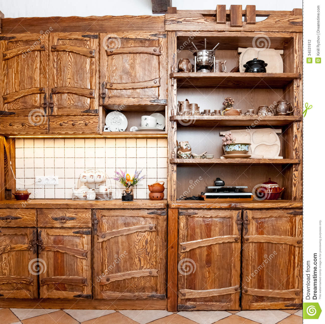furniture for kitchen in country style stock photography