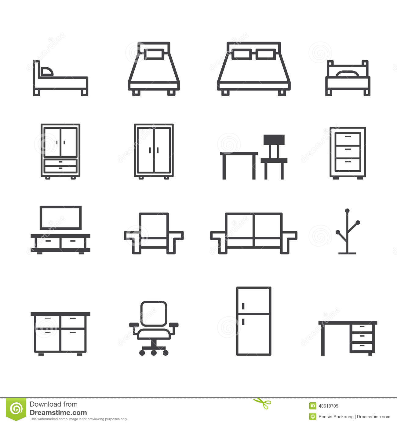 Furniture line icon stock vector image 48618705 for Furnishing websites