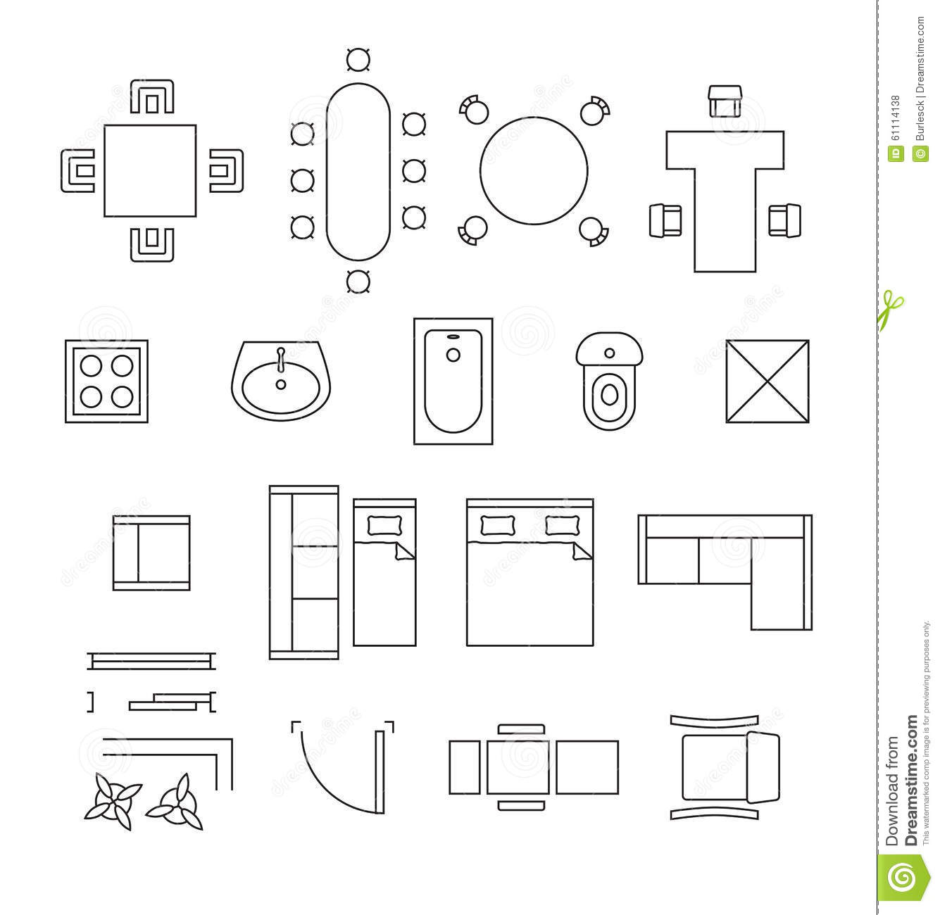 Furniture linear vector symbols floor plan icons stock for Bathroom templates for planning
