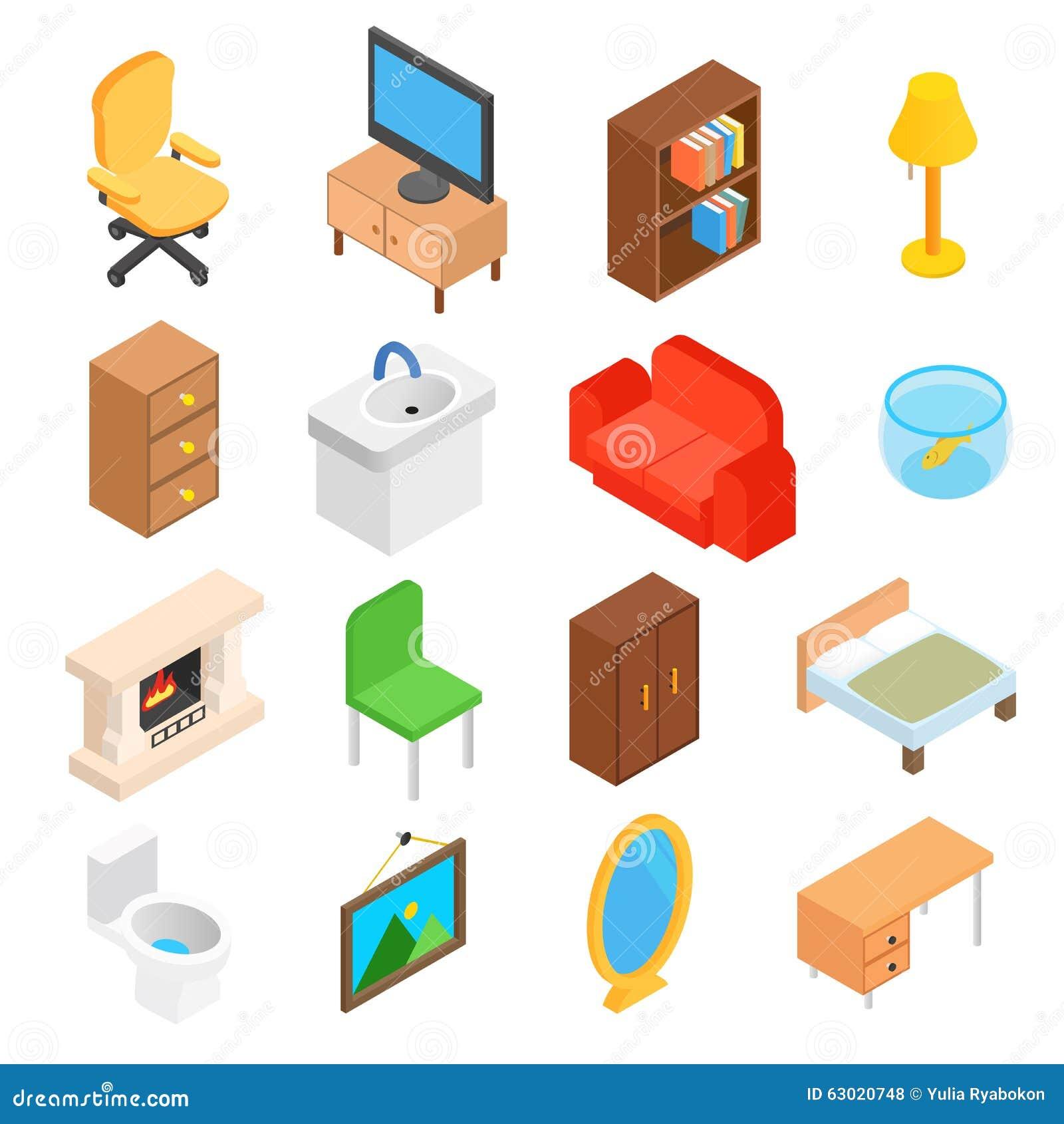 Vector Isometric Rooms Icon Stock Vector: Furniture For Living Room Isometric Stock Vector