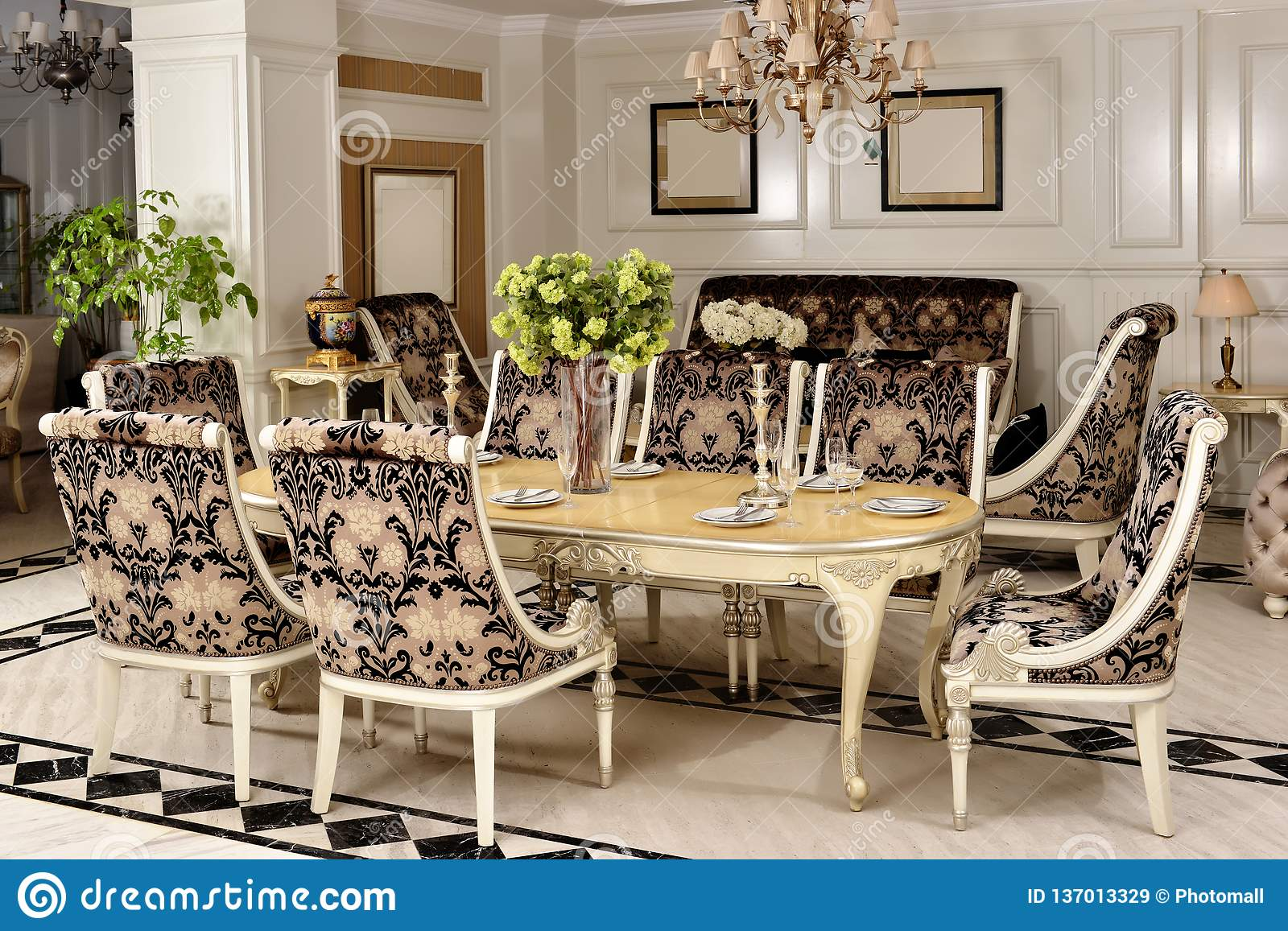 Furniture In Luxury Dining Room Stock Image Image Of Bookcase Furniture 137013329