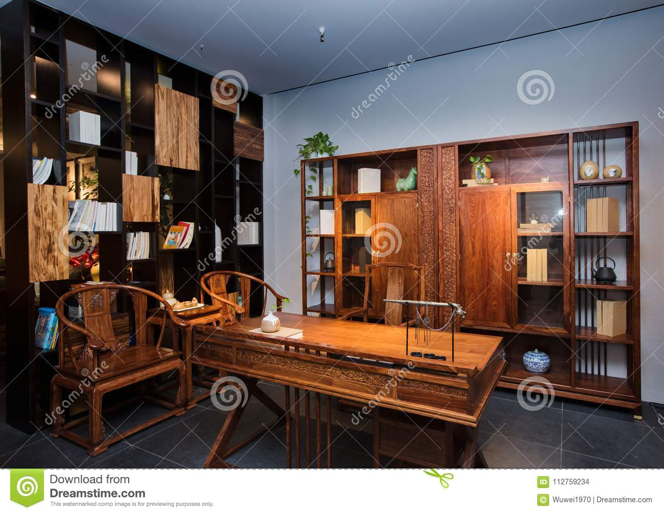 The study of the modern chinese family editorial stock - Mahogany bedroom furniture contemporary ...