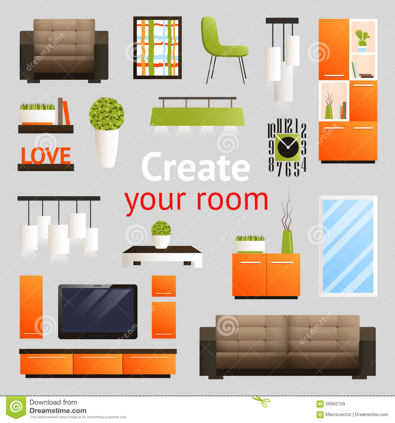 Furniture objects set stock vector illustration of cozy for 15x15 living room