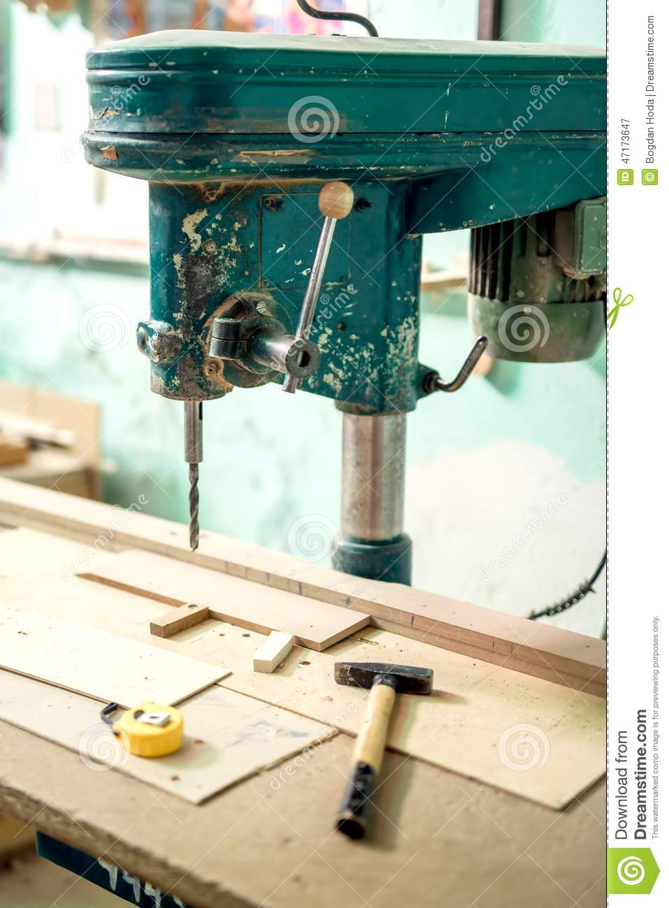 Furniture production plant, factory with industrial drilling and