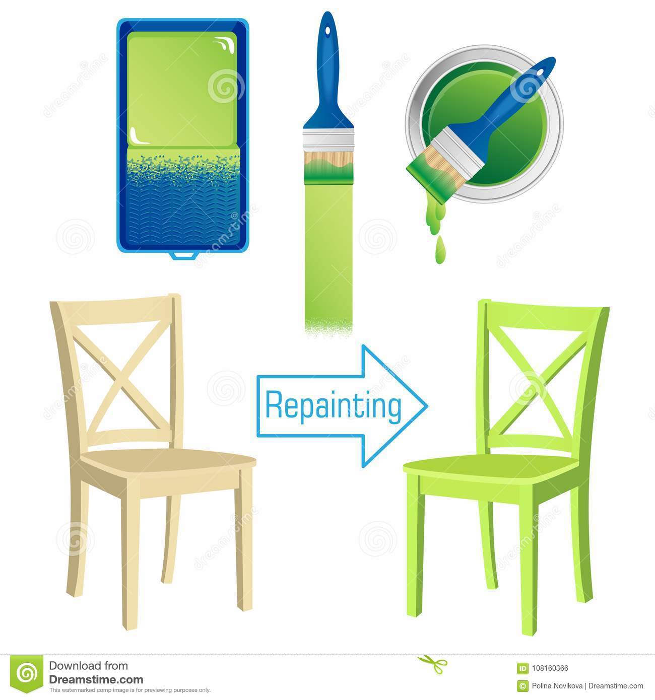 Download Furniture Repainting Tools Roller Brush Tin Of Paint And Painted Wooden Chair Stock  sc 1 st  Dreamstime.com & Furniture Repainting Tools Roller Brush Tin Of Paint And Painted ...