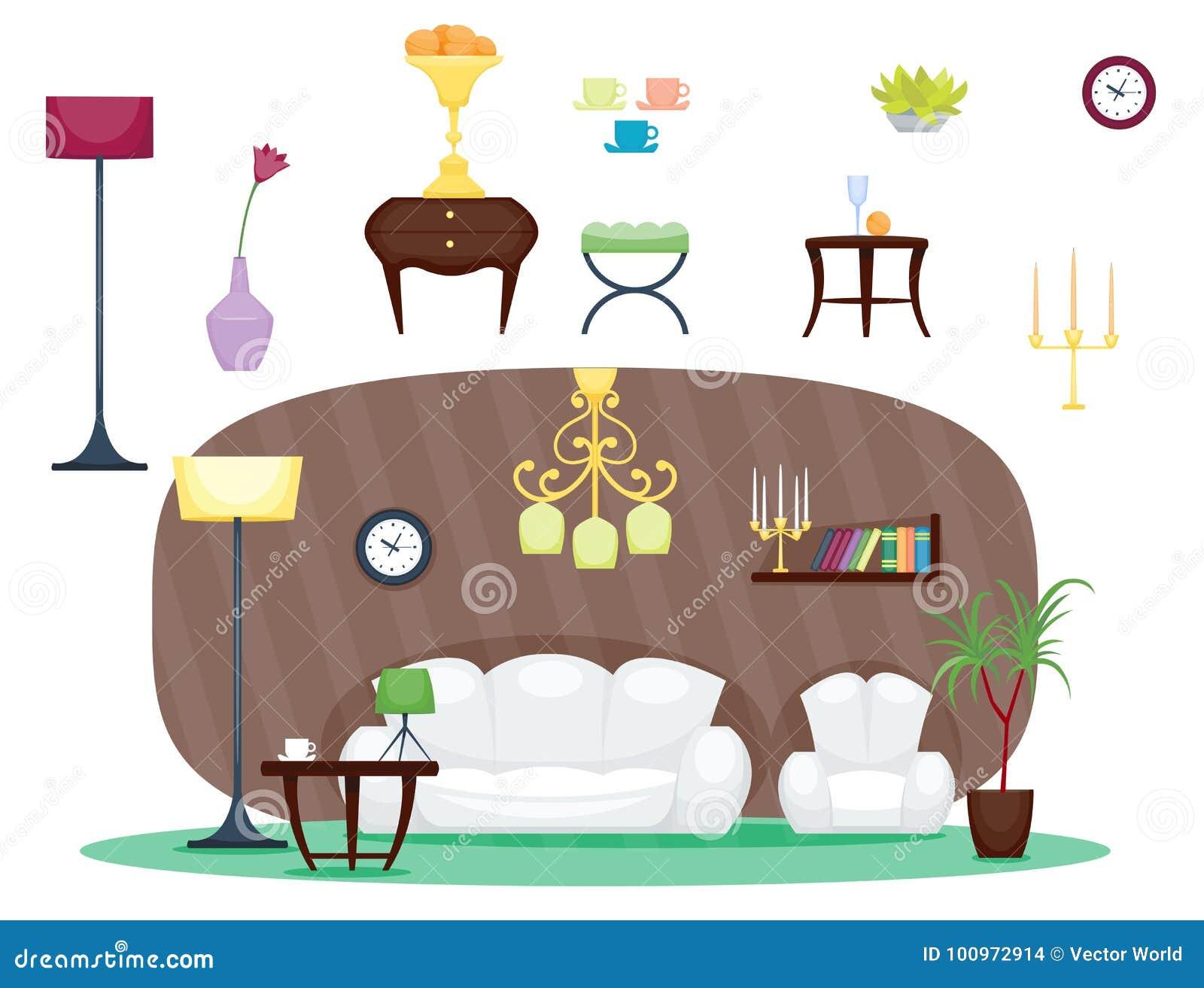 Set Interior Design House Rooms Furniture Stock Vector: Furniture Room Interior Design Home Decor Concept Icon Set