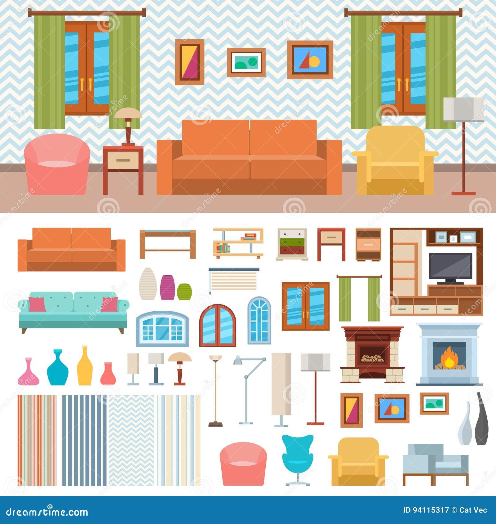 Set Interior Design House Rooms Furniture Stock Vector: Furniture Room Interior Design And Home Decor Concept Icon