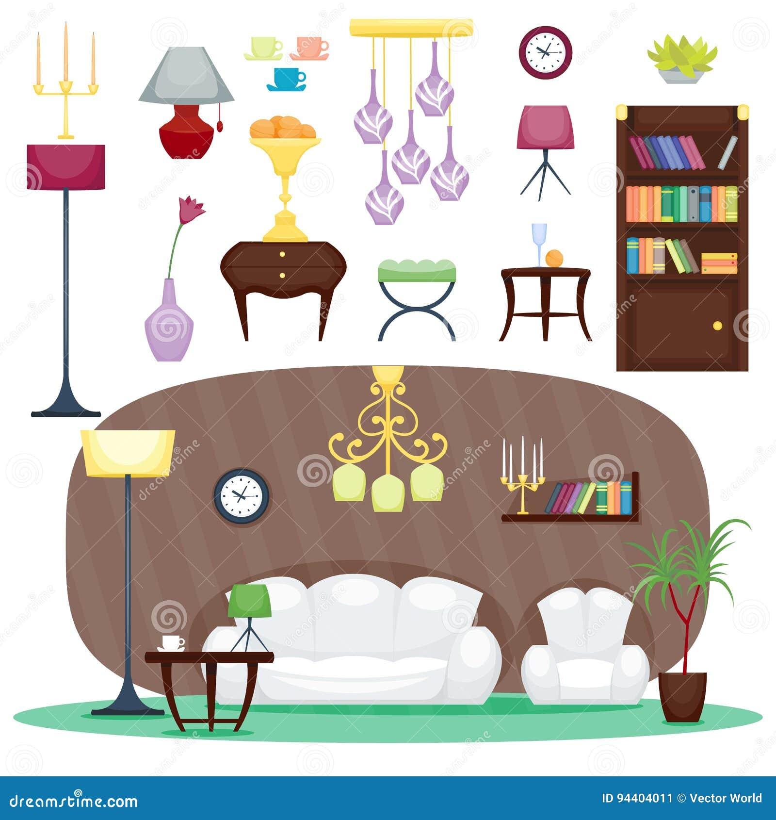 Furniture Room Interior Design Home Decor Concept Icon Set