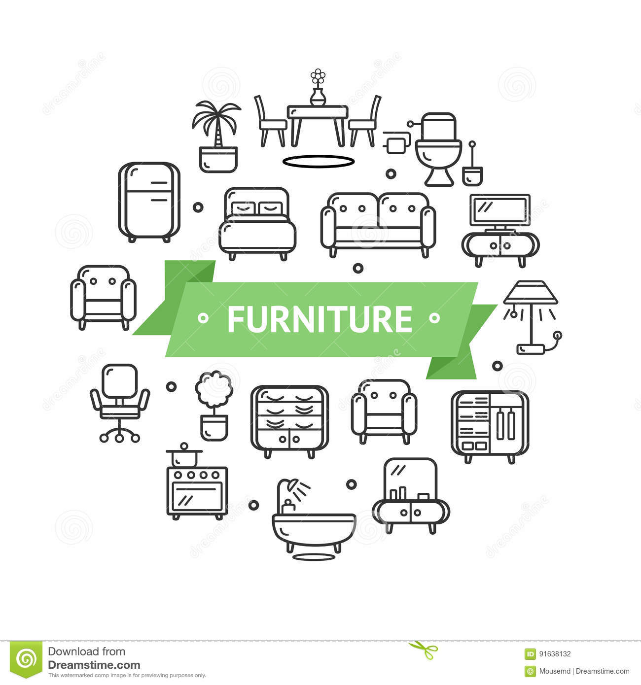 Furniture round design template thin line icon concept for Furniture layout app
