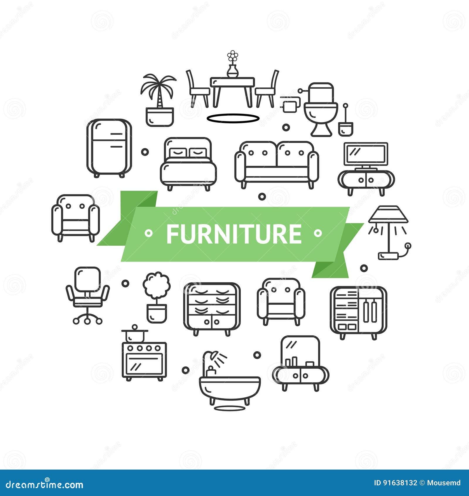 Furniture round design template thin line icon concept for Interior design web app