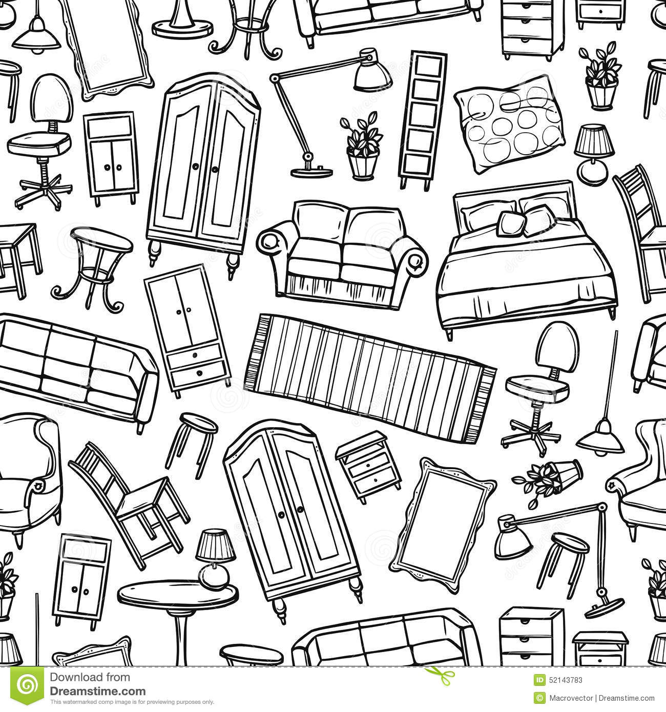 Furniture Seamless Pattern Stock Vector Image 52143783
