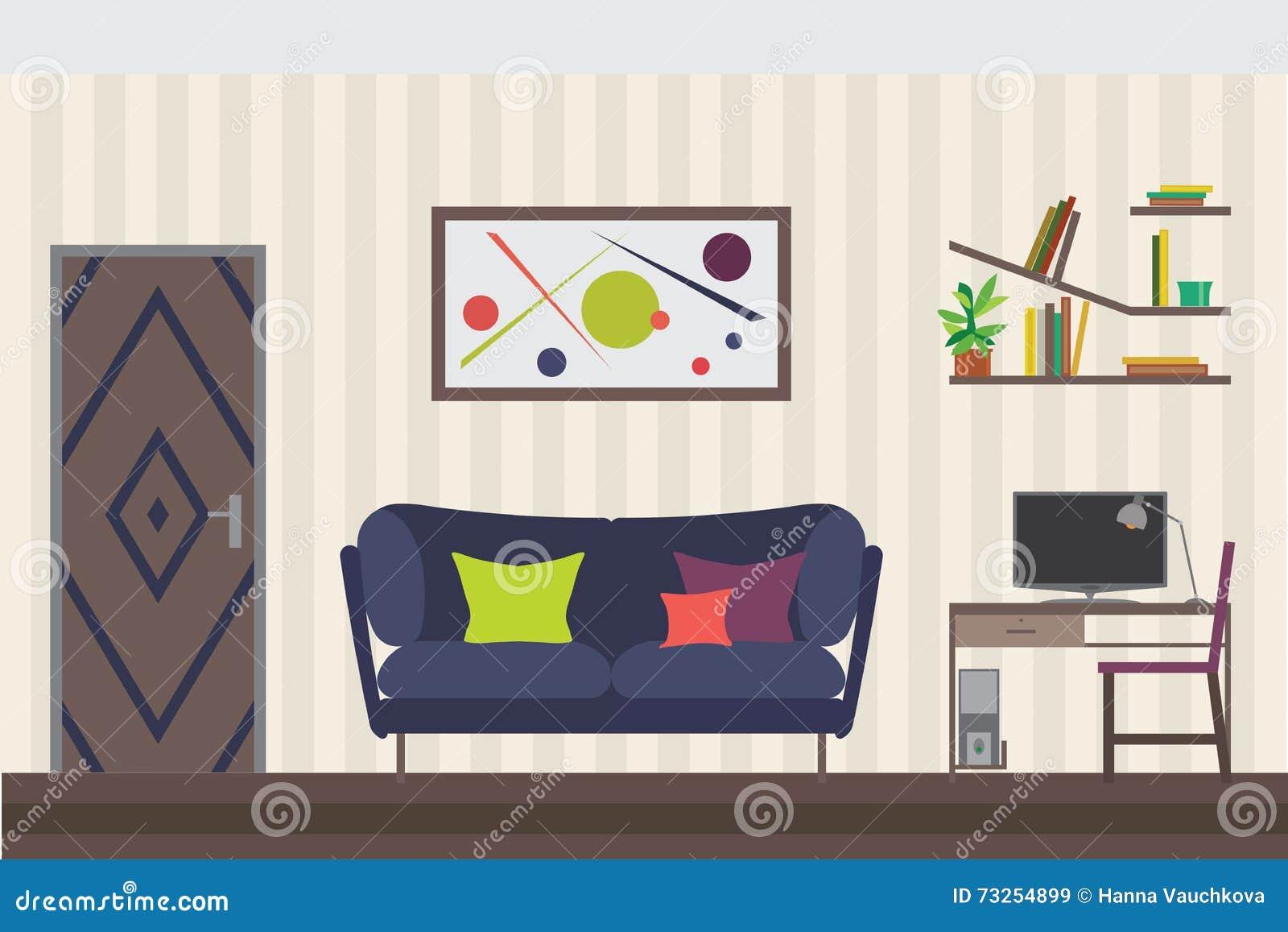 Living room modern sofa elevation cartoon vector for Apartment design vector