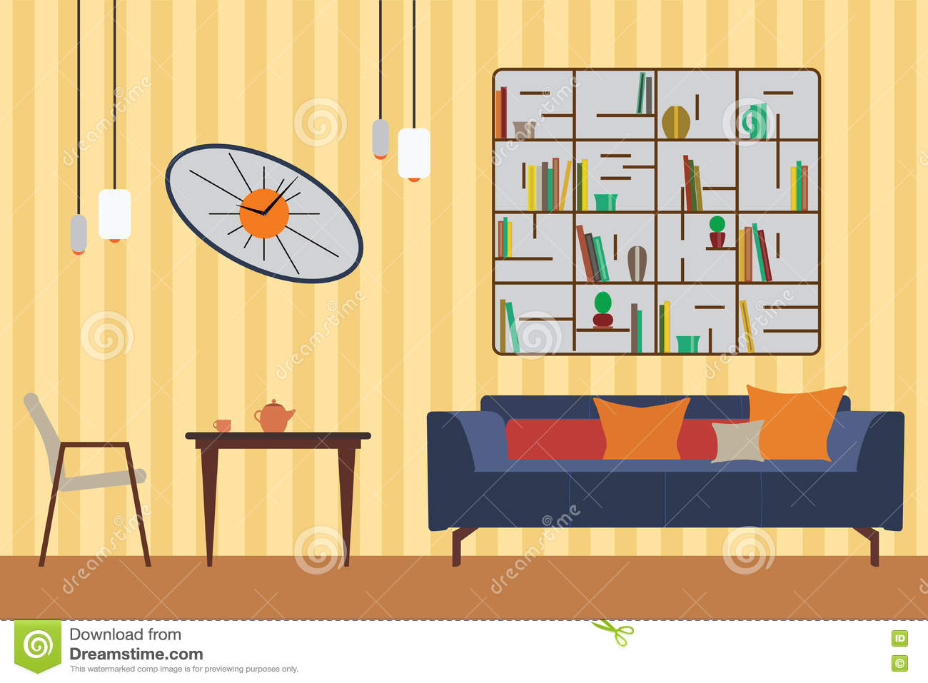 Bedroom Interior Design Set Furniture Vector ~ Living room modern sofa elevation cartoon vector