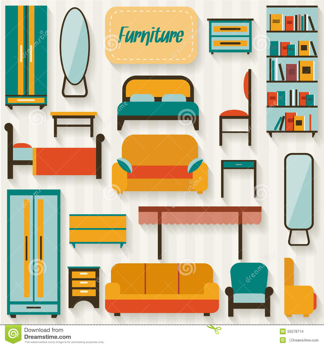 Furniture Set For Rooms Of House Stock Vector