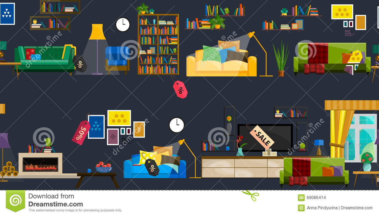Furniture Shop Super Sale Vector Illustration. Furniture Shop Super Sale Vector Illustration Stock Vector   Image
