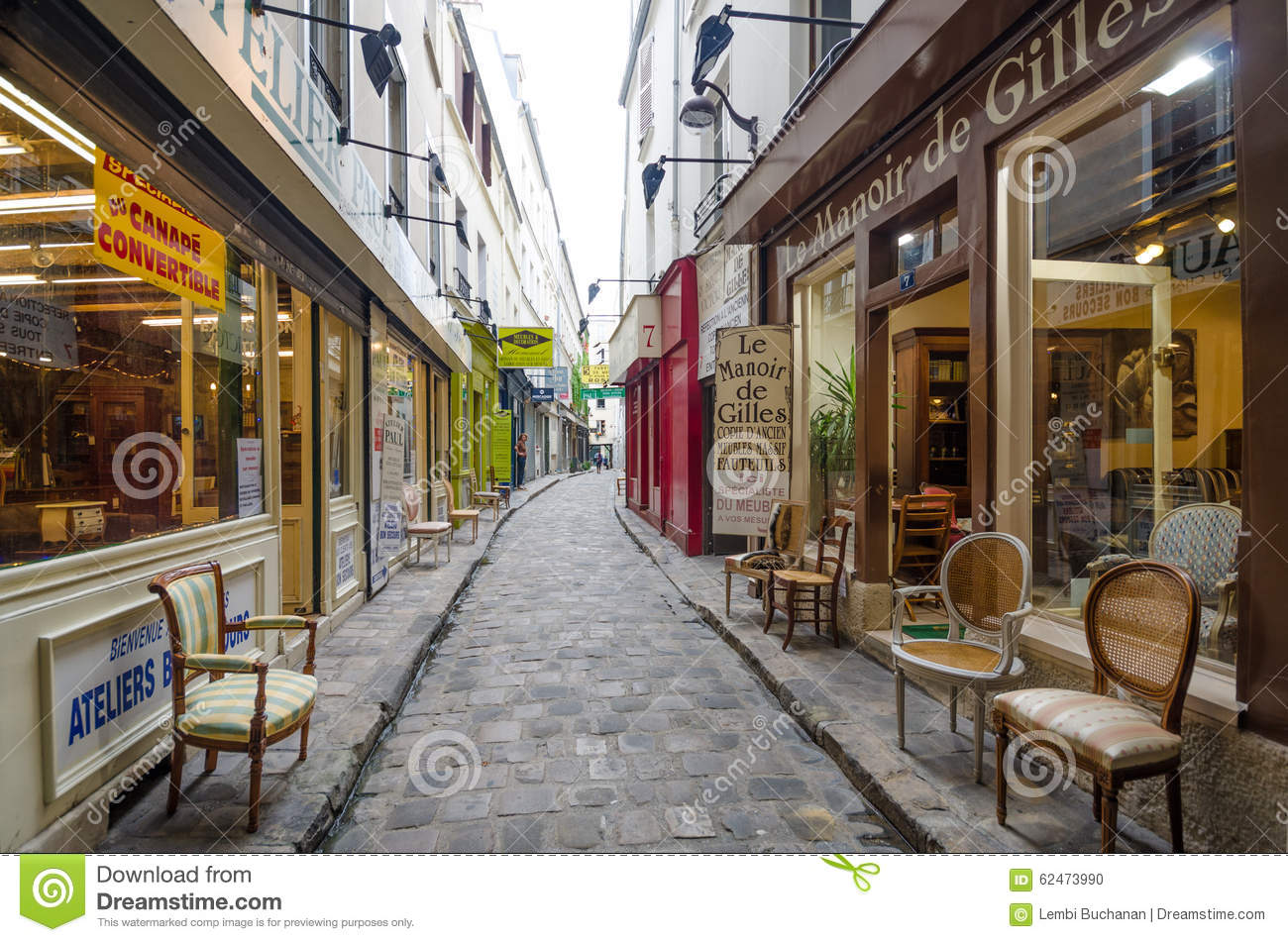 furniture shops on passage du chantier in paris editorial image image 62473990. Black Bedroom Furniture Sets. Home Design Ideas
