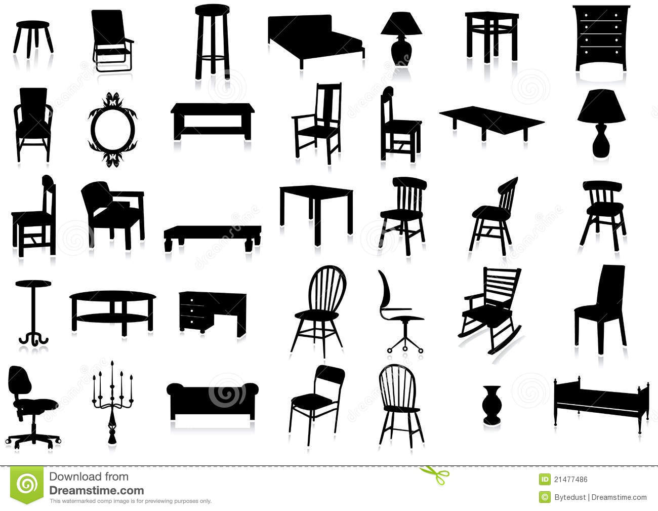 Furniture Silhouette Vector Illustration Set Stock Vector