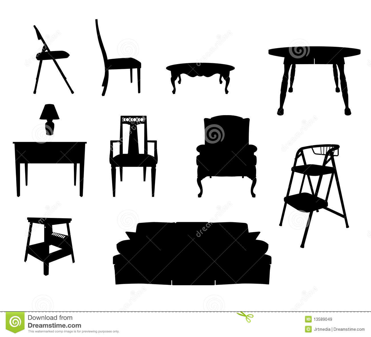 Antique chair silhouette - Furniture Silhouettes Royalty Free Stock Images