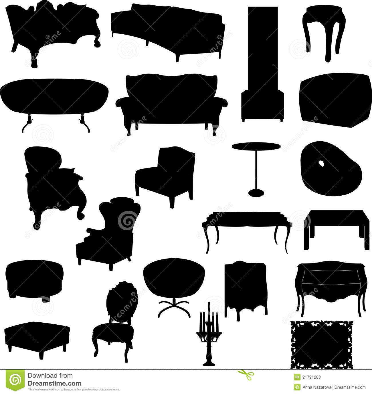 Antique chair silhouette - Furniture Silhouettes Royalty Free Stock Photos