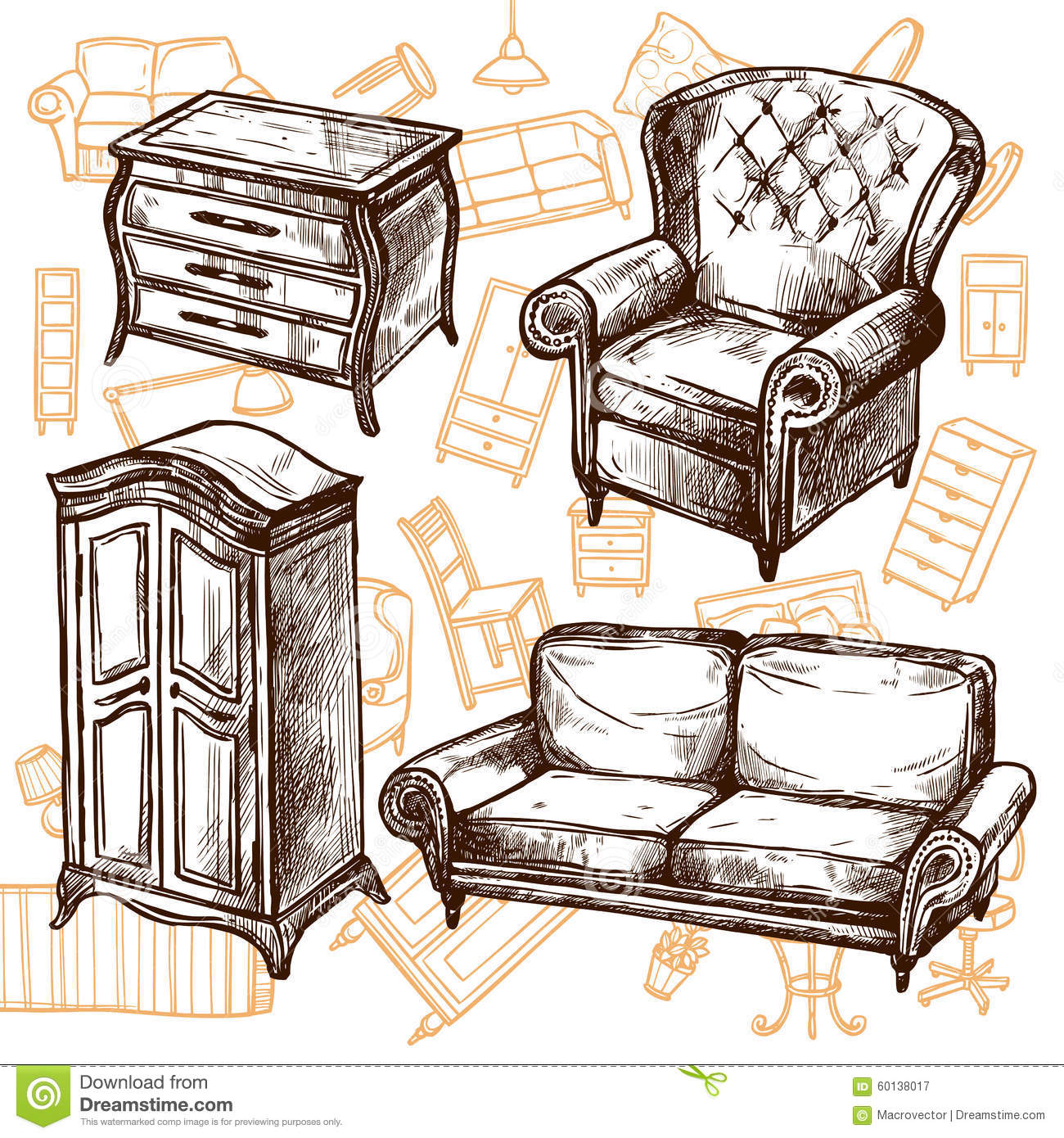 Royalty Free Vector. Download Furniture Sketch ...