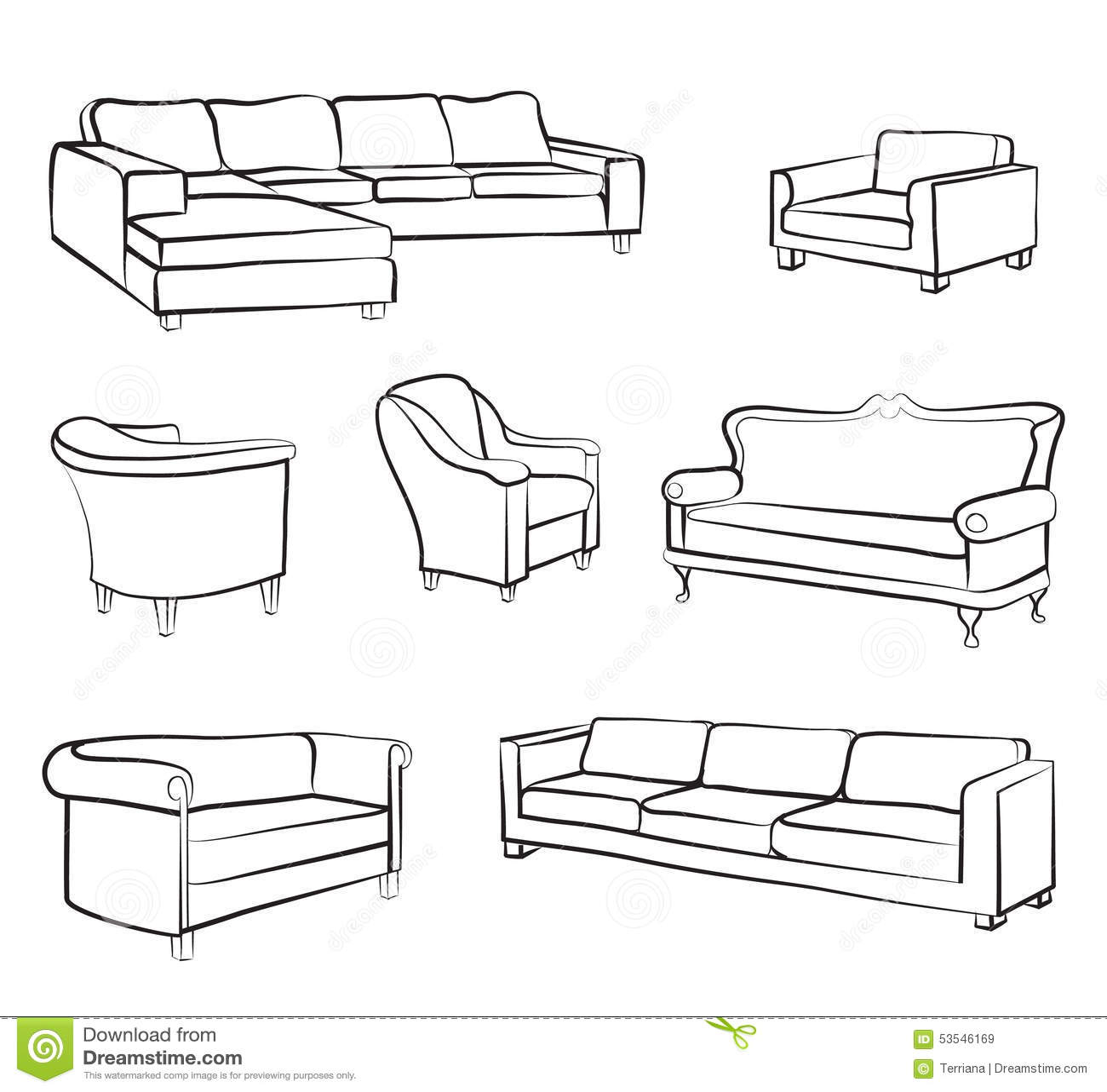 Furniture sofa and armchair set interior design outline for Sofa design sketch
