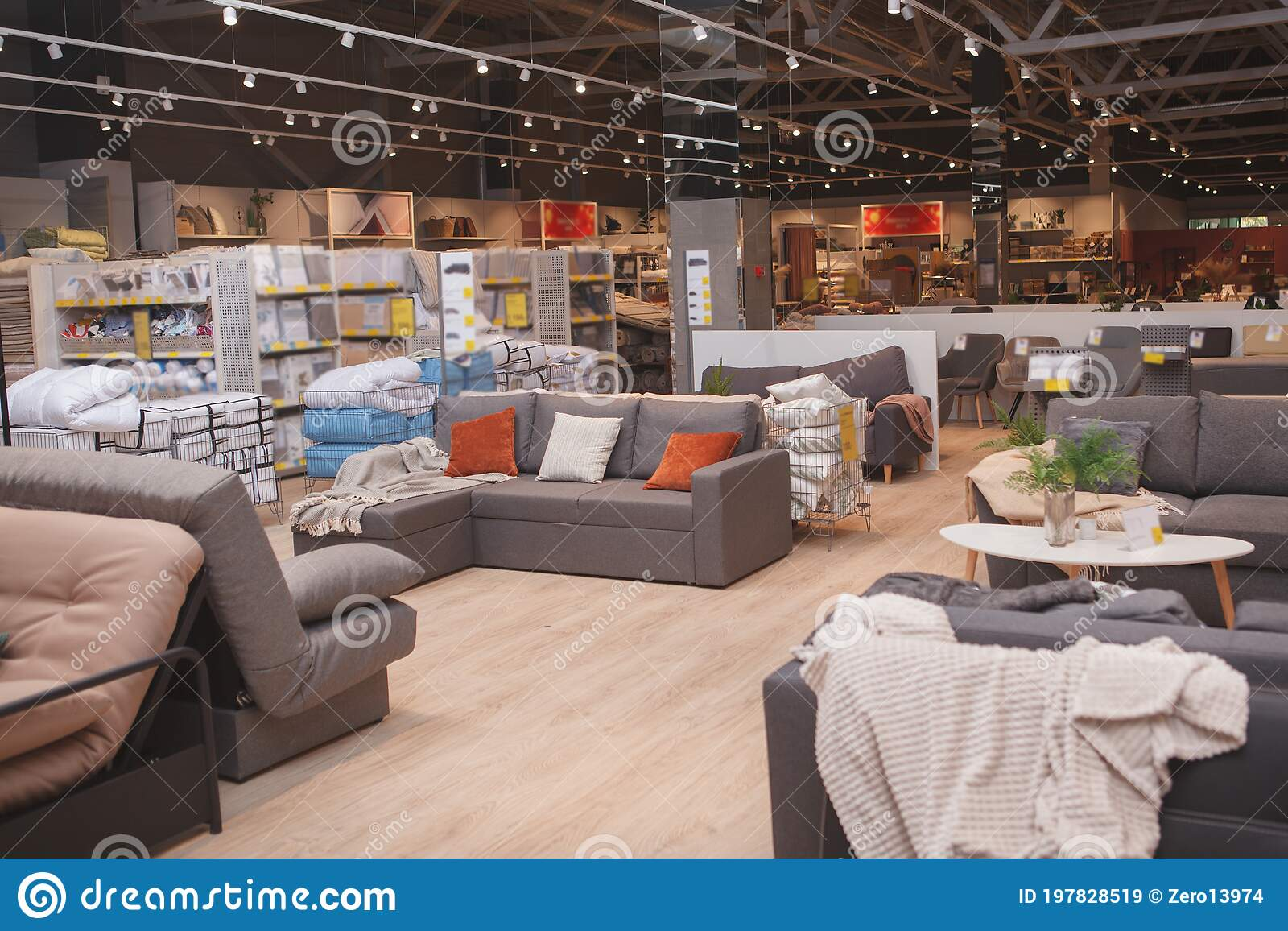 Furniture Store with Couches and Sofas on Sale Stock Image   Image ...