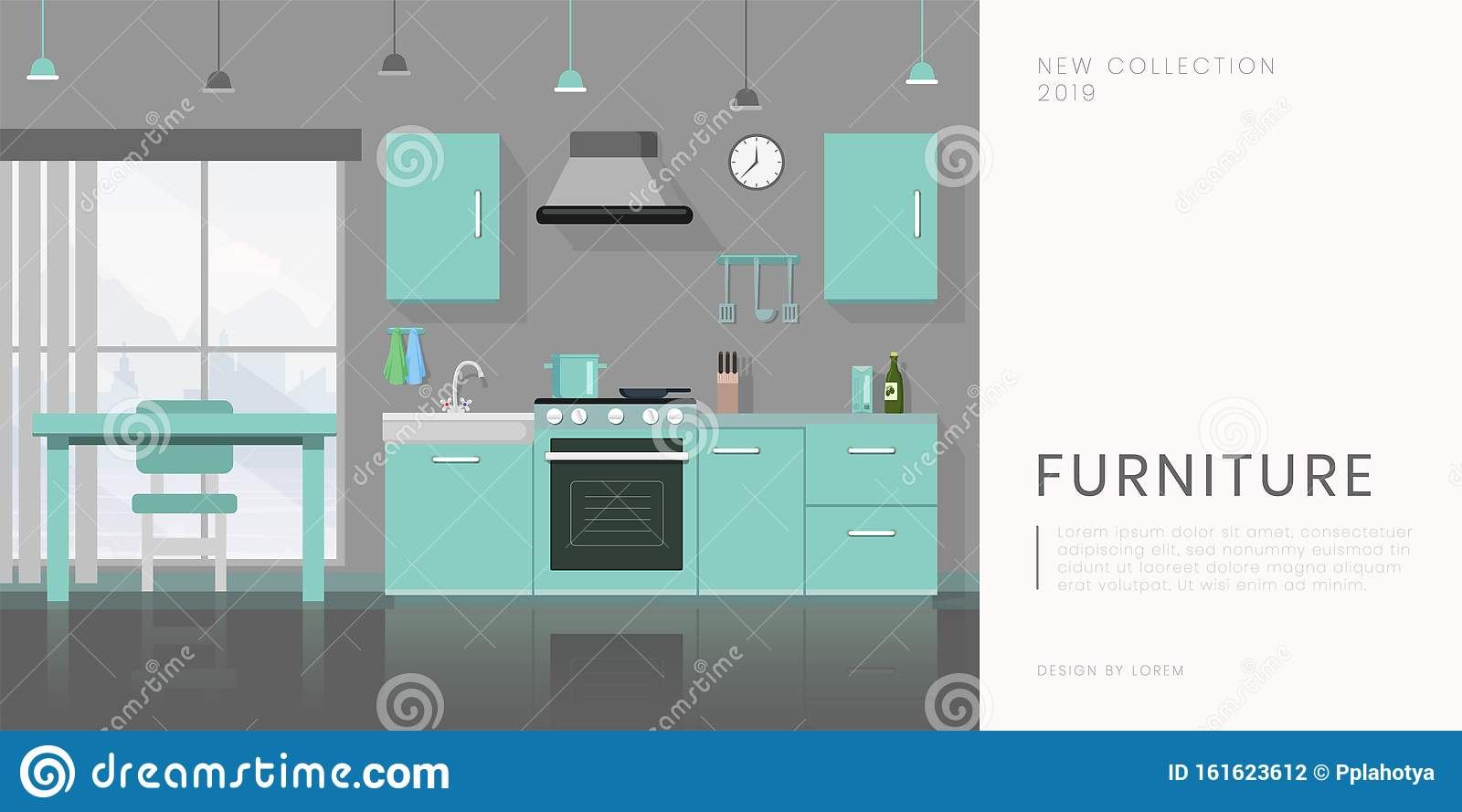 Furniture Store Flat Banner Vector Template Contemporary