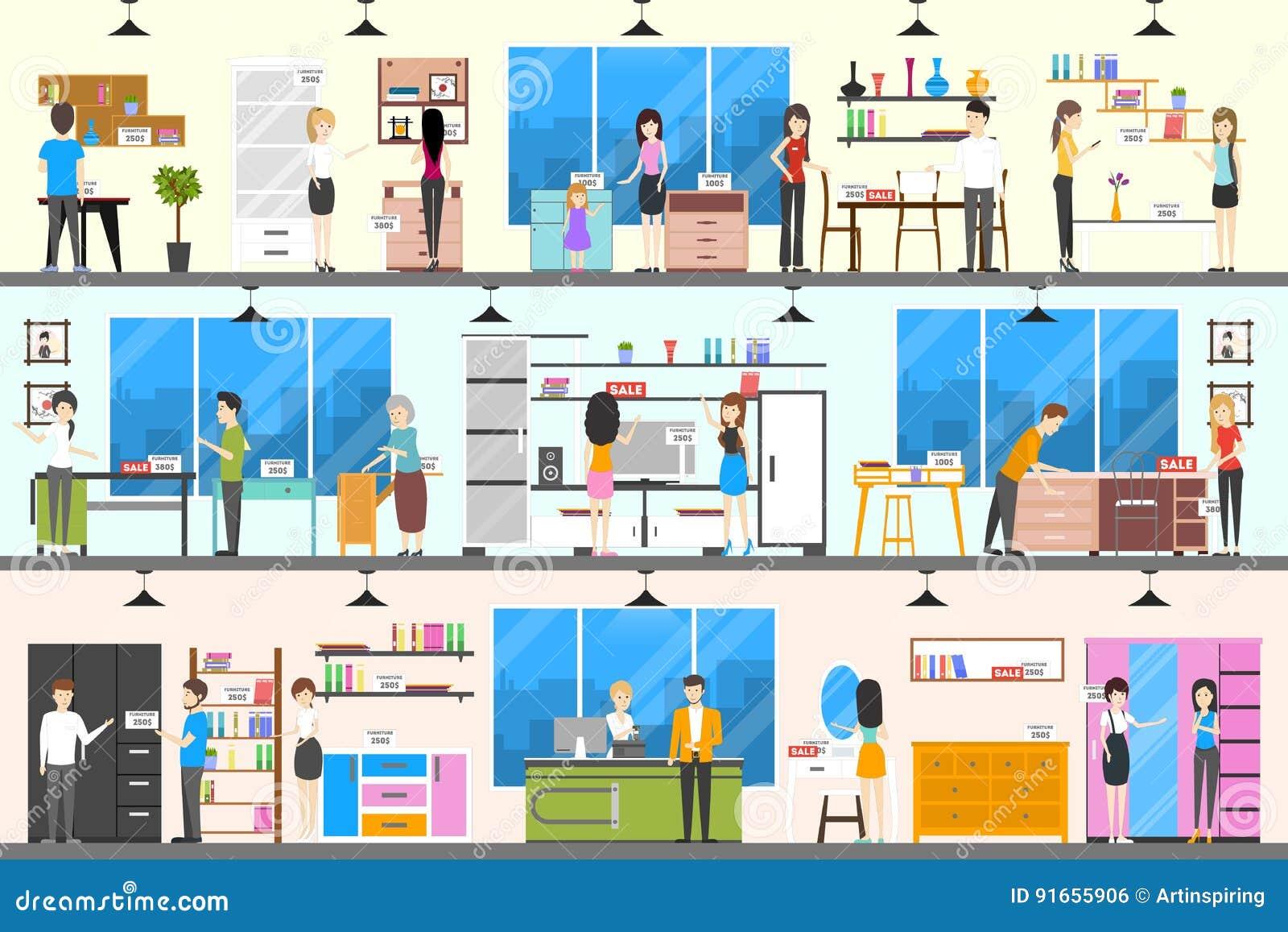 furniture store interior stock vector illustration of people 91655906. Black Bedroom Furniture Sets. Home Design Ideas