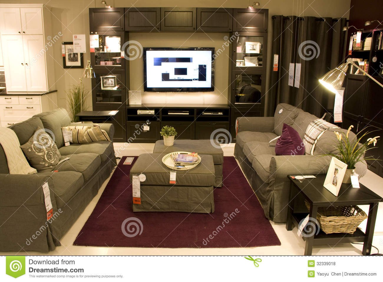 Furniture displayed in a clothes shop close up low angle for Living room furniture stores