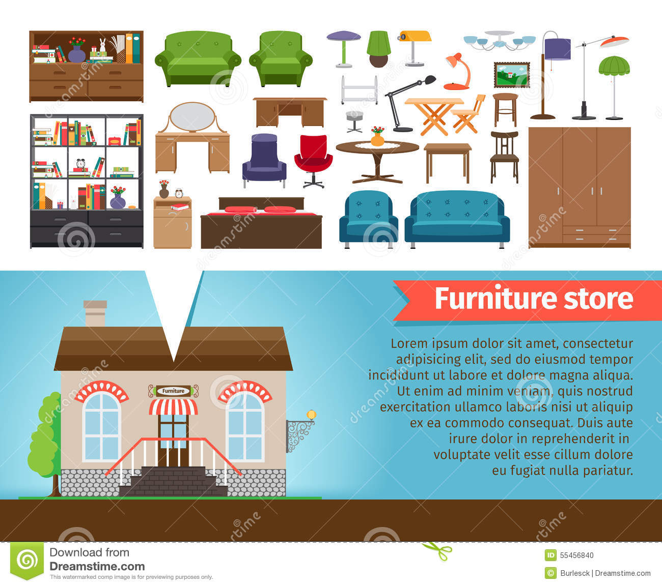 Furniture Store Stock Vector Image 55456840