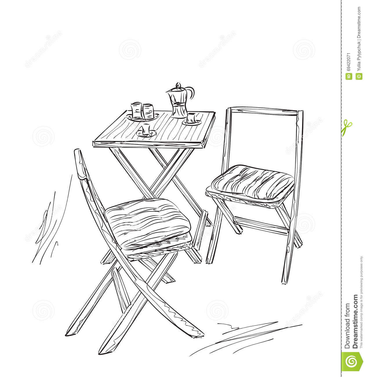Furniture in summer cafe chair and table sketch stock for Table design sketch