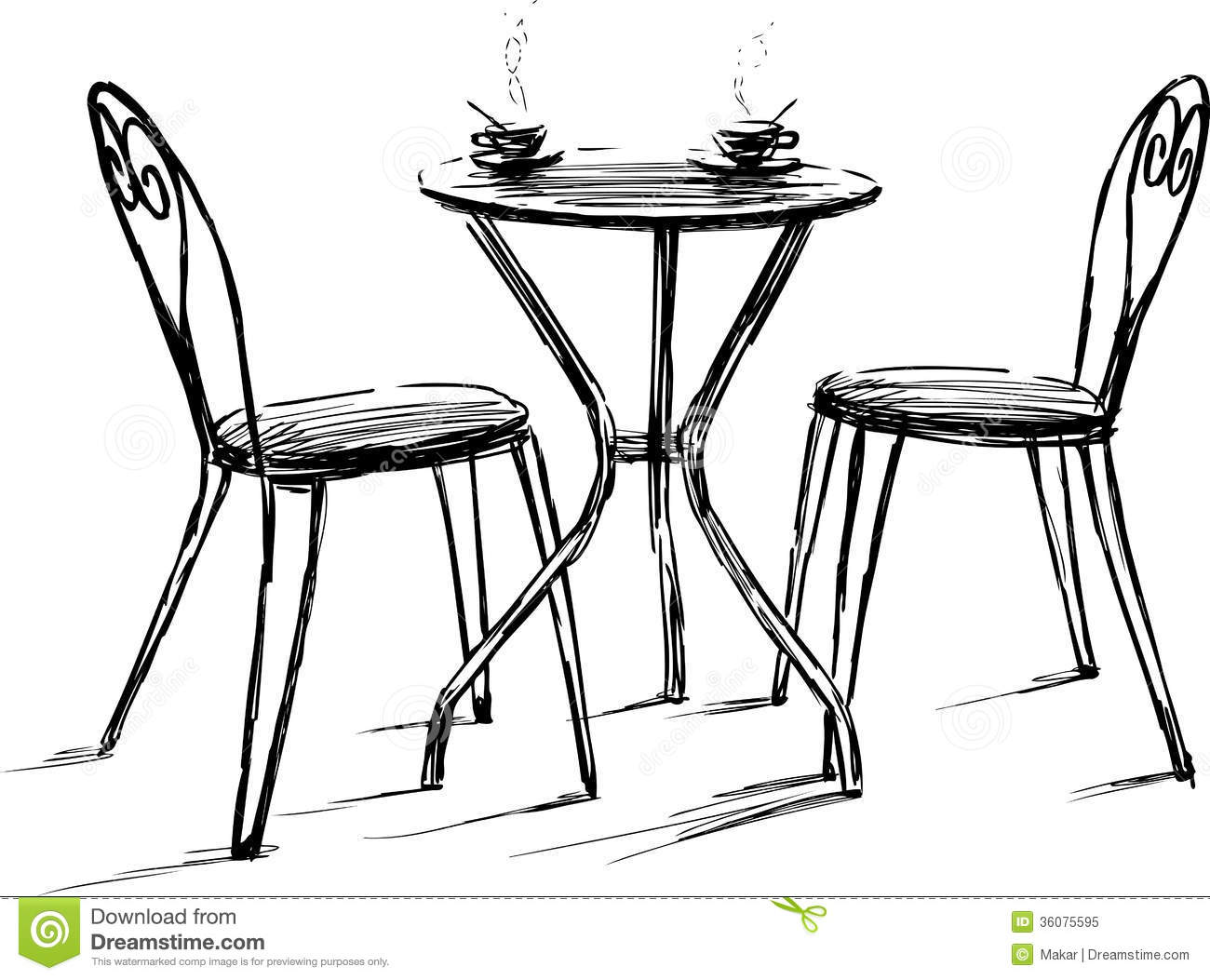 Simple Chair Drawing Furniture In Summer Cafe Simple Chair Drawing