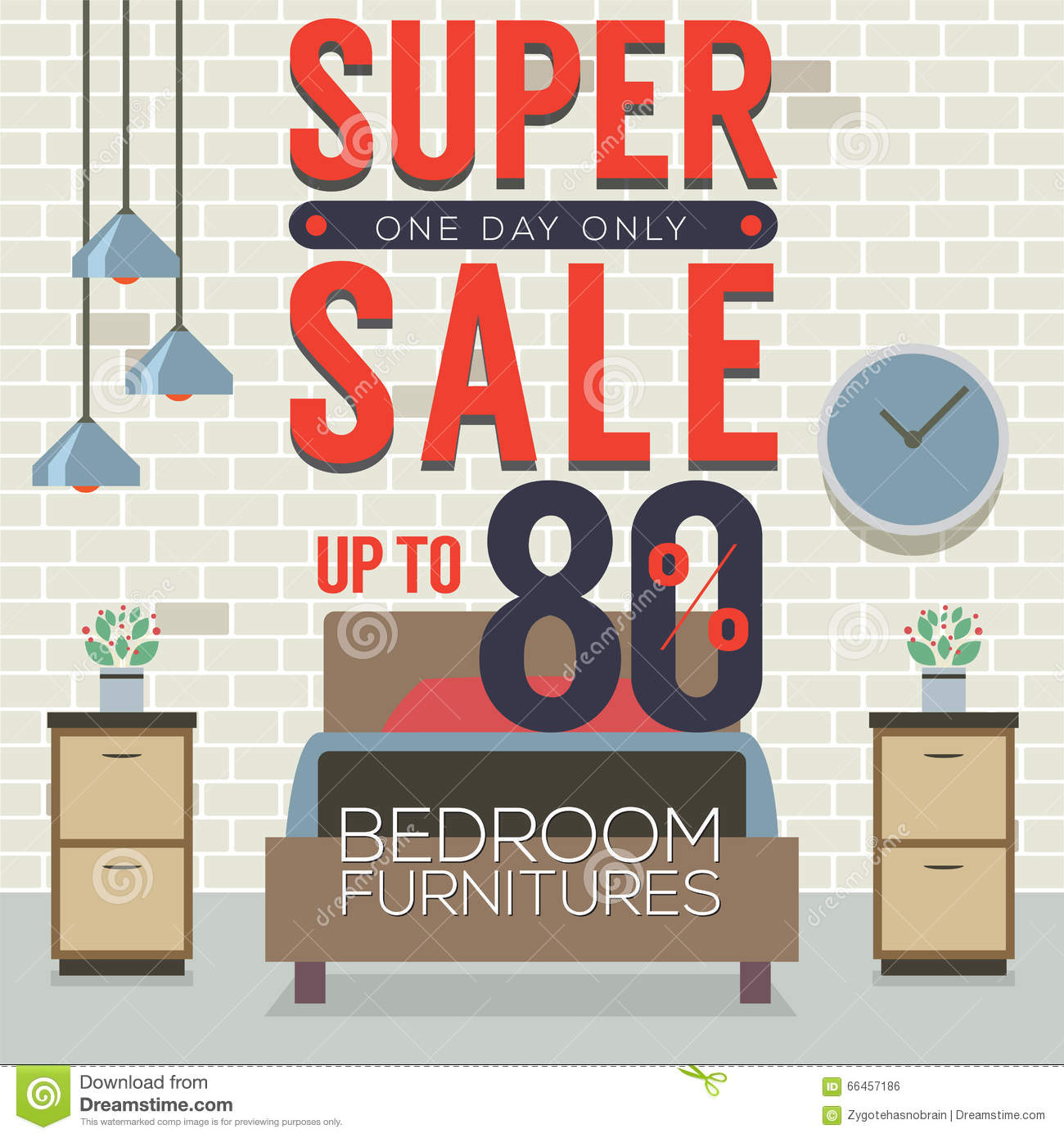 Furniture Super Sale Up To 80 Percent Stock Vector Illustration