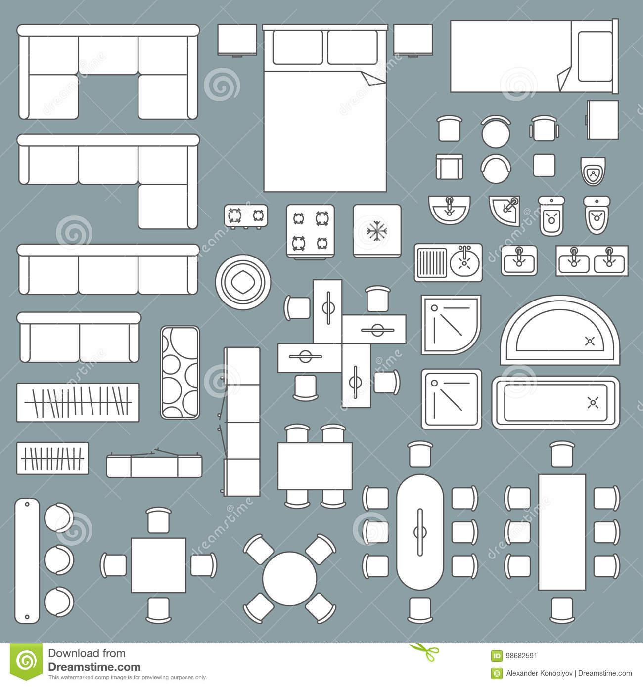 Top view of home furniture vector illustration for Apartment design vector