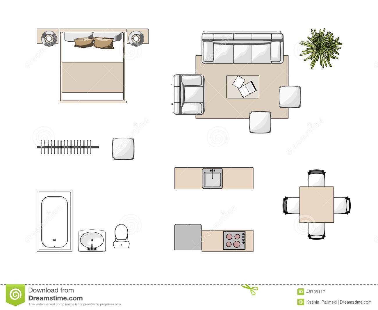 royalty free illustration download furniture top view