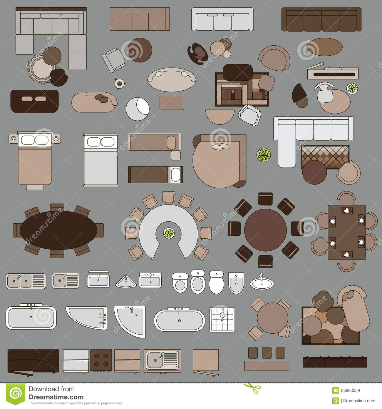 Furniture In Top View Stock Vector Illustration Of Interior 83883059